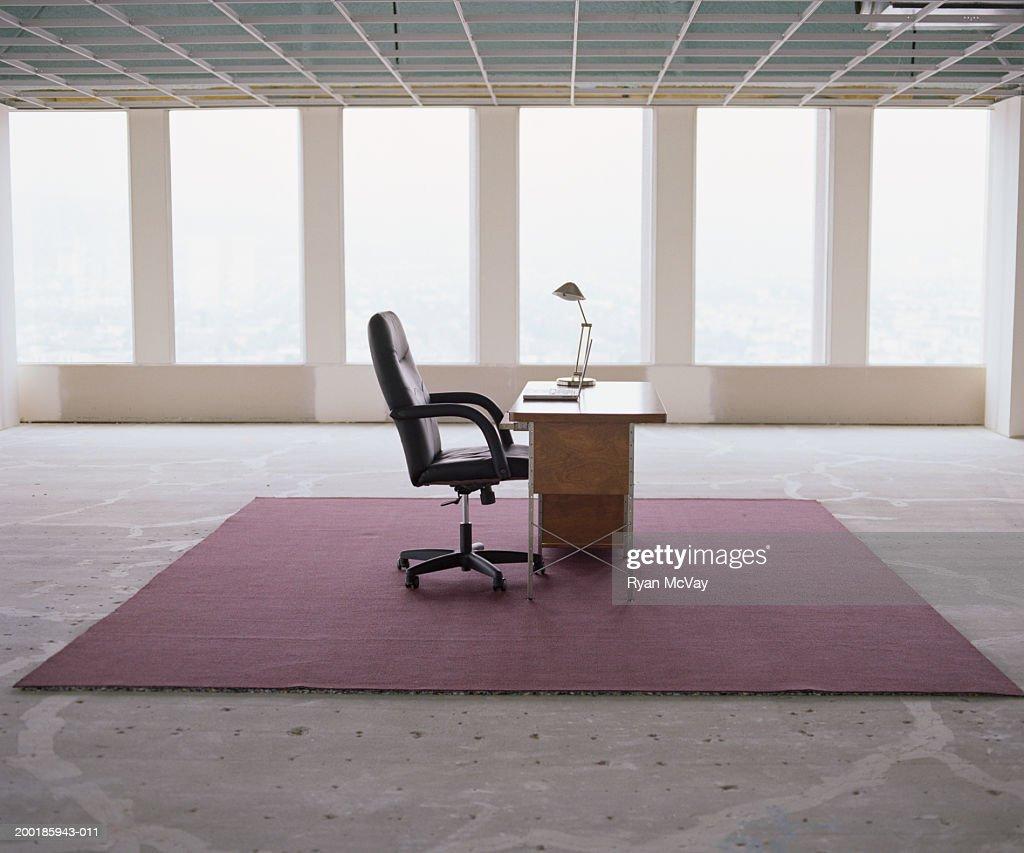 office space desk. Desk In Empty Office Space : Stock Photo