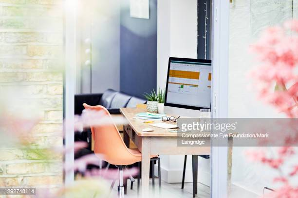 desk in home office - empty stock pictures, royalty-free photos & images