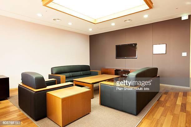 Desk inside an office building