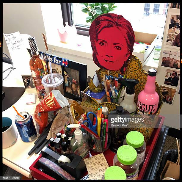 A desk inside the campaign headquarters for Democratic presidential candidate Hillary Clinton June 28 2016 in Brooklyn NY