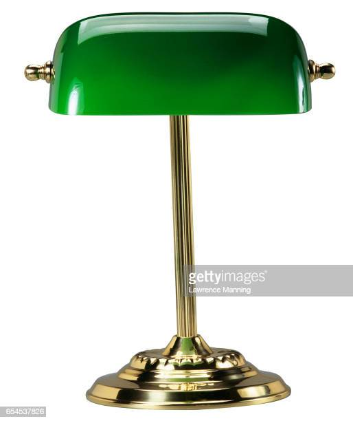 desk lamp with green lampshade - angle poise lamp stock pictures, royalty-free photos & images