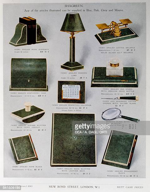 Desk objects in green shagreen and gilt silver with ivory edging page from Asprey Co Ltd catalogue United Kingdom 20th century