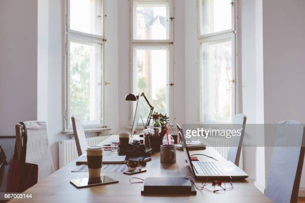 Desk of startup coworking business office