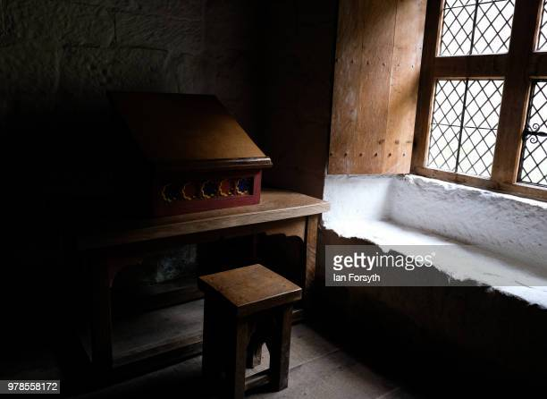 A desk used by a monk is bathed in window light in the Monks Cell at Mount Grace Priory ahead of a media event to launch a new arts and craft style...