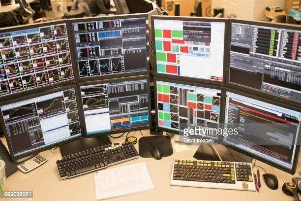 Desk with arrangement of computer monitor