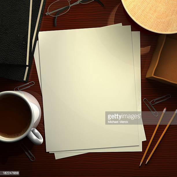 デスク、ブランク紙