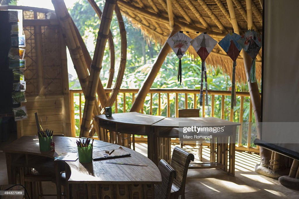 Desks And Chairs On Bamboo Patio Classroom : Stock Photo