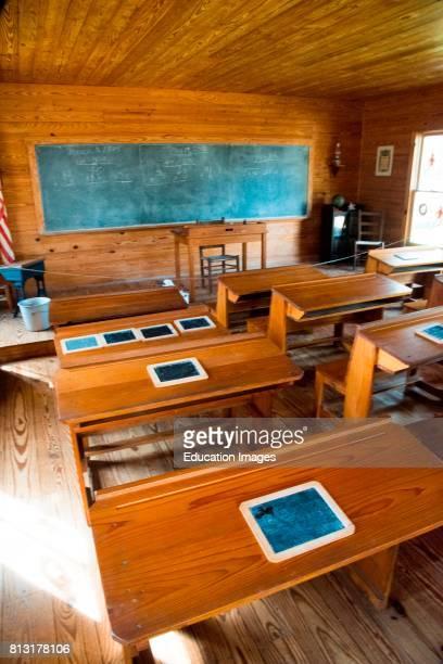 Desks in oneroom school Manatee Village Historical Park Bradenton Florida