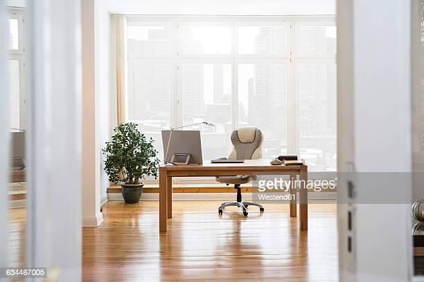 Desktop at the window in office