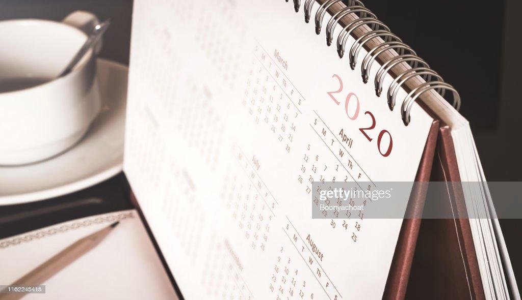 Desktop calendar 2020 : Stock Photo