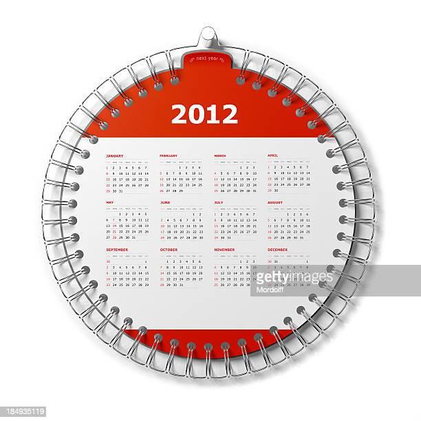 Calendário Desktop isolado no branco. Ano de 2012