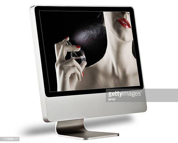 desktop computer with screensaver on a white background - screen saver stock photos and pictures