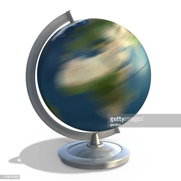 3 D globe terrestre sur pied sur blanc