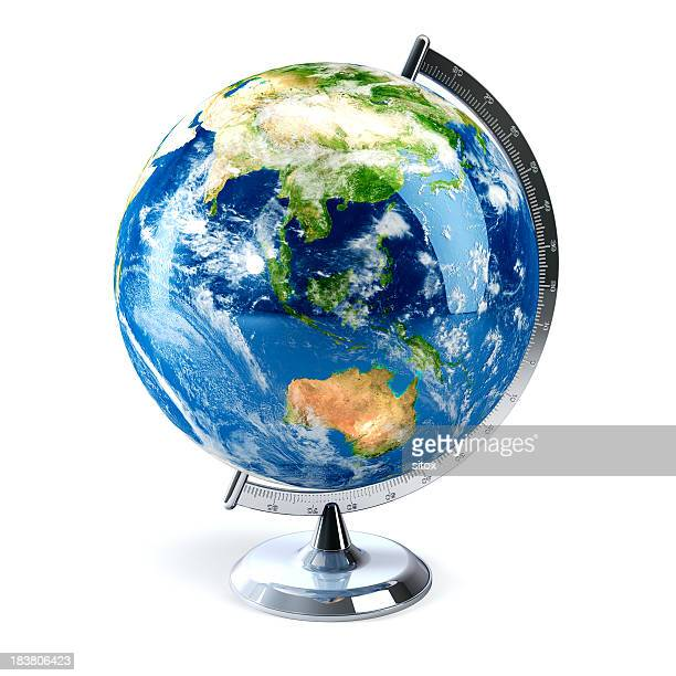 Desktop globe showing Asia and Australia