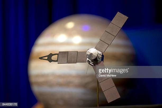 A desktop model of the Juno spacecraft is seen as NASA officials and the public look forward to the Independence Day arrival of the the Juno...