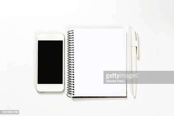 Desktop objets on white background