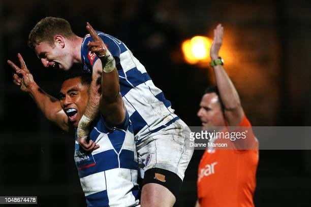 Desma Lianina of Auckland celebrates his try during the round nine Mitre 10 Cup match between Southland and Auckland at Rugby Park Stadium on October...