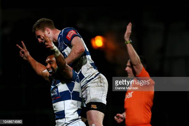 Desma Lianina of Auckland celebrates his try with teammate Jordan Trainor of Auckland during the round nine Mitre 10 Cup match between Southland and...