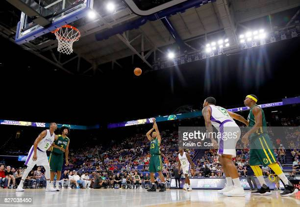 Desmon Farmer of the Ball Hogs shoots a foul shot during the game against the 3 Headed Monsters during week seven of the BIG3 three on three...