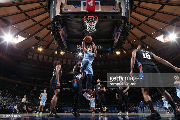 Desmond Bane of the Memphis Grizzlies drives to the basket during the game against the New York Knicks on April 9, 2021 at Madison Square Garden in...