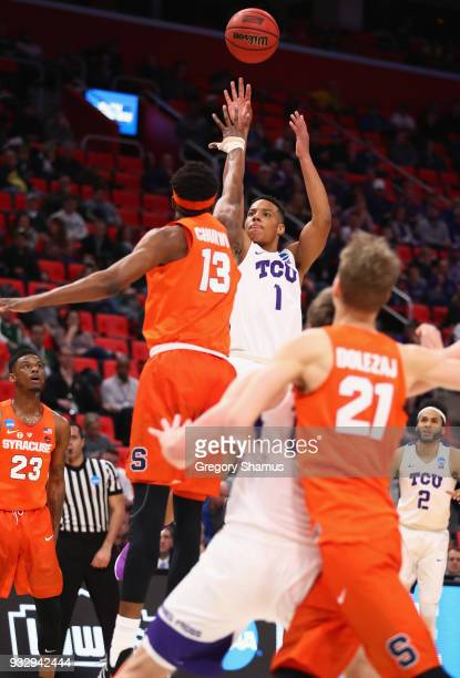 Desmond Bane of the TCU Horned Frogs shoots the ball during the first half against Paschal Chukwu of the Syracuse Orange in the first round of the...