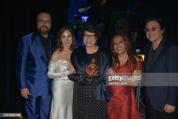 Desmond Child Nydia CaroKaren Sherry Valerie Simpson and Rudy Perez backstage at the 6th Annual Latin Songwriters Hall Of Fame La Musa Awards at...
