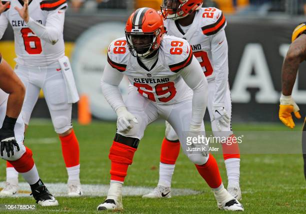 Desmond Harrison of the Cleveland Browns in action against the Pittsburgh Steelers on October 28 2018 at Heinz Field in Pittsburgh Pennsylvania