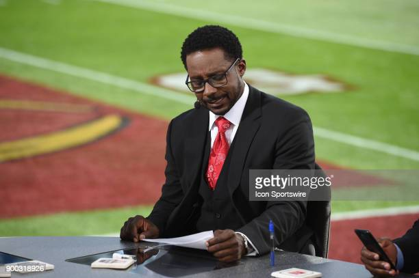 Desmond Howard of ESPN College Football before the College Football Playoff Semifinal at the Rose Bowl Game between the Georgia Bulldogs and Oklahoma...