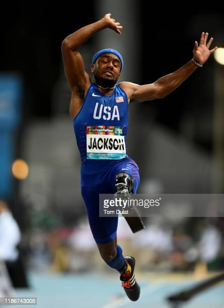 Desmond Jackson of United States competes during the Men's Long Jump T63 Final on Day Four of the IPC World Para Athletics Championships 2019 Dubai...