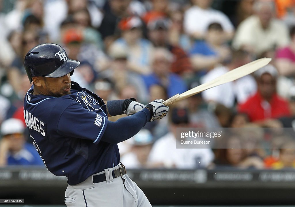 Desmond Jennings #8 of the Tampa Bay Rays breaks his bat hitting into a double play during the ninth inning of a game against the Detroit Tigers at Comerica Park on July 5, 2014 in Detroit, Michigan. The Rays defeated the Tigers 7-2.