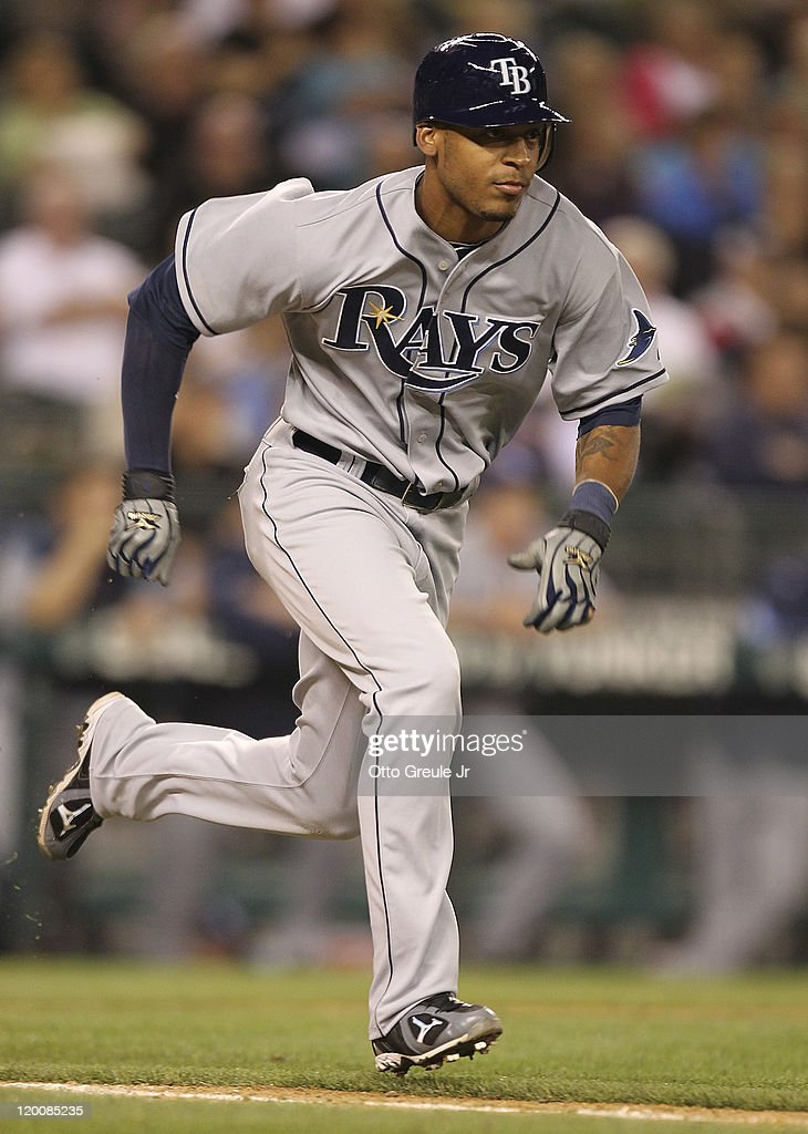 Desmond Jennings #8 of the Tampa Bay Rays heads to first base on a ground out against the Seattle Mariners at Safeco Field on July 29, 2011 in Seattle, Washington.