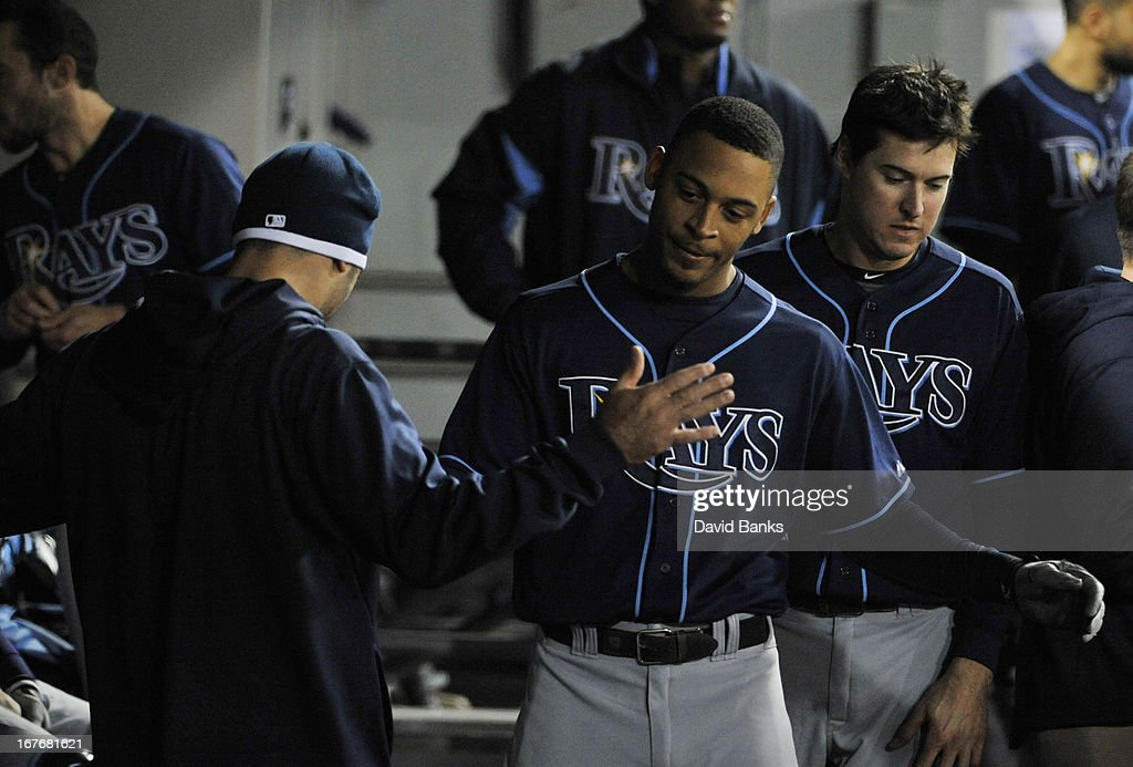 Desmond Jennings #8 of the Tampa Bay Rays is greeted after hitting a home run against the Chicago White Sox during the sixth inning on April 27, 2013 at U.S. Cellular Field in Chicago, Illinois.