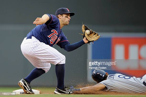 Desmond Jennings of the Tampa Bay Rays steals second base against Brian Dozier of the Minnesota Twins during the tenth inning on August 12 2012 at...