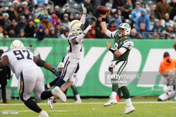 Desmond King of the Los Angeles Chargers attempts to block the pass attempt by Bryce Petty of the New York Jets during the second half of an NFL game...