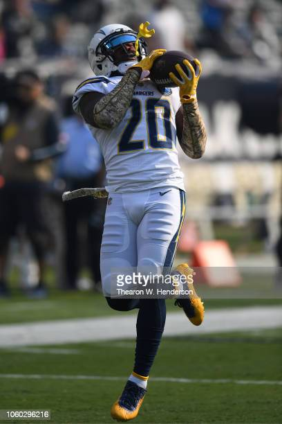 Desmond King of the Los Angeles Chargers warms up prior to their game against the Oakland Raiders at OaklandAlameda County Coliseum on November 11...