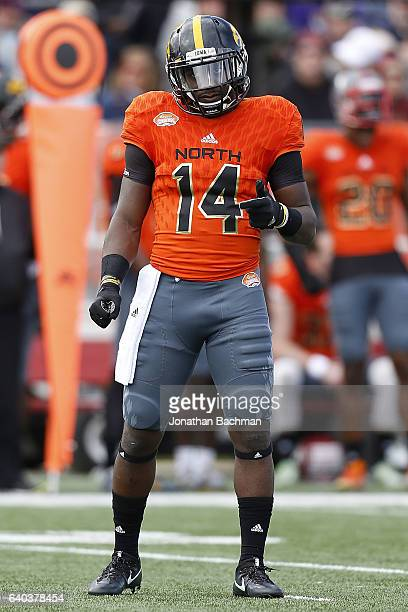 Desmond King of the North team lines up during the Reese's Senior Bowl at the LaddPeebles Stadium on January 28 2017 in Mobile Alabama