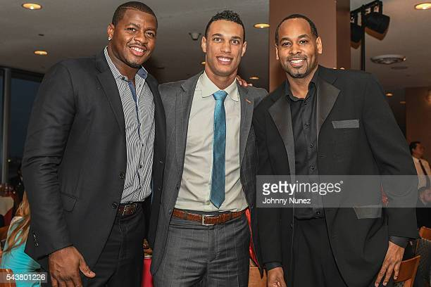 Desmond Mason David Nelson and Derek Anderson attend 2016 Union National Culture And Sports Foundation's Sports For Peace Charity Dinner Gala at...