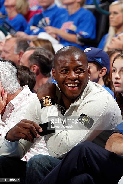 Desmond Mason Former NBA player drafted out of Oklahoma State University attends the game between the Memphis Grizzlies and the Oklahoma City Thunder...