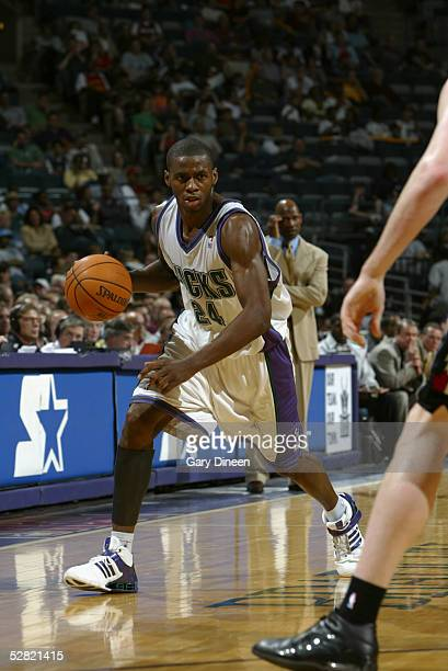 Desmond Mason of the Milwaukee Bucks drives against the Toronto Raptors during the game on April 19 2005 at the Bradley Center in Milwaukee Wisconsin...