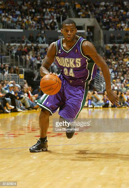 Desmond Mason of the Milwaukee Bucks drives to the hoop during the game against the Los Angeles Lakers at the Staples Center on March 21 2004 in Los...