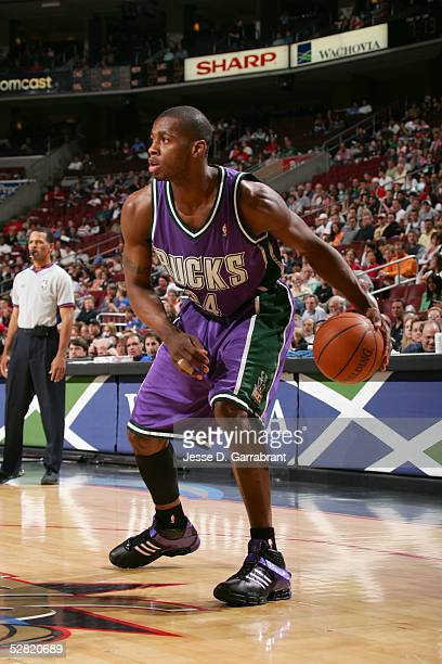 Desmond Mason of the Milwaukee Bucks moves the ball against the Philadelphia 76ers during a game at Wachovia Center on April 18 2005 in Philadelphia...