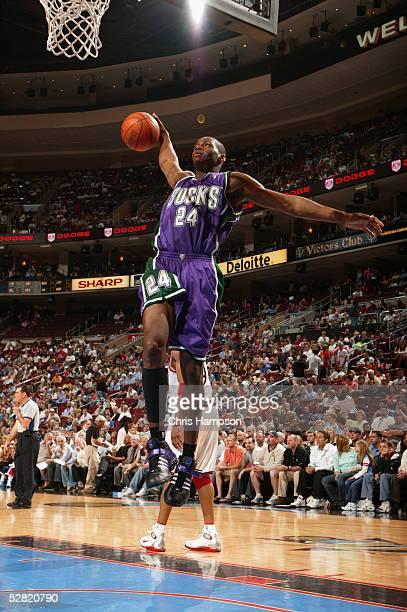 Desmond Mason of the Milwaukee Bucks rebounds against the Philadelphia 76ers during a game at Wachovia Center on April 18 2005 in Philadelphia...