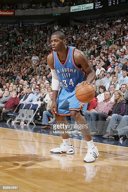 Desmond Mason of the Oklahoma City Thunder moves the ball during the game against the Utah Jazz on November 7 2008 at EnergySolutions Arena in Salt...