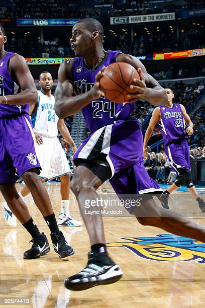 Desmond Mason of the Sacramento Kings drives against the New Orleans Hornets on October 30 2009 at the New Orleans Arena in New Orleans Louisiana...