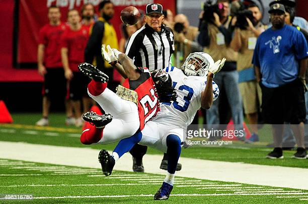 Desmond Trufant of the Atlanta Falcons breaks up a pass intended for TY Hilton of the Indianapolis Colts during the first half at the Georgia Dome on...