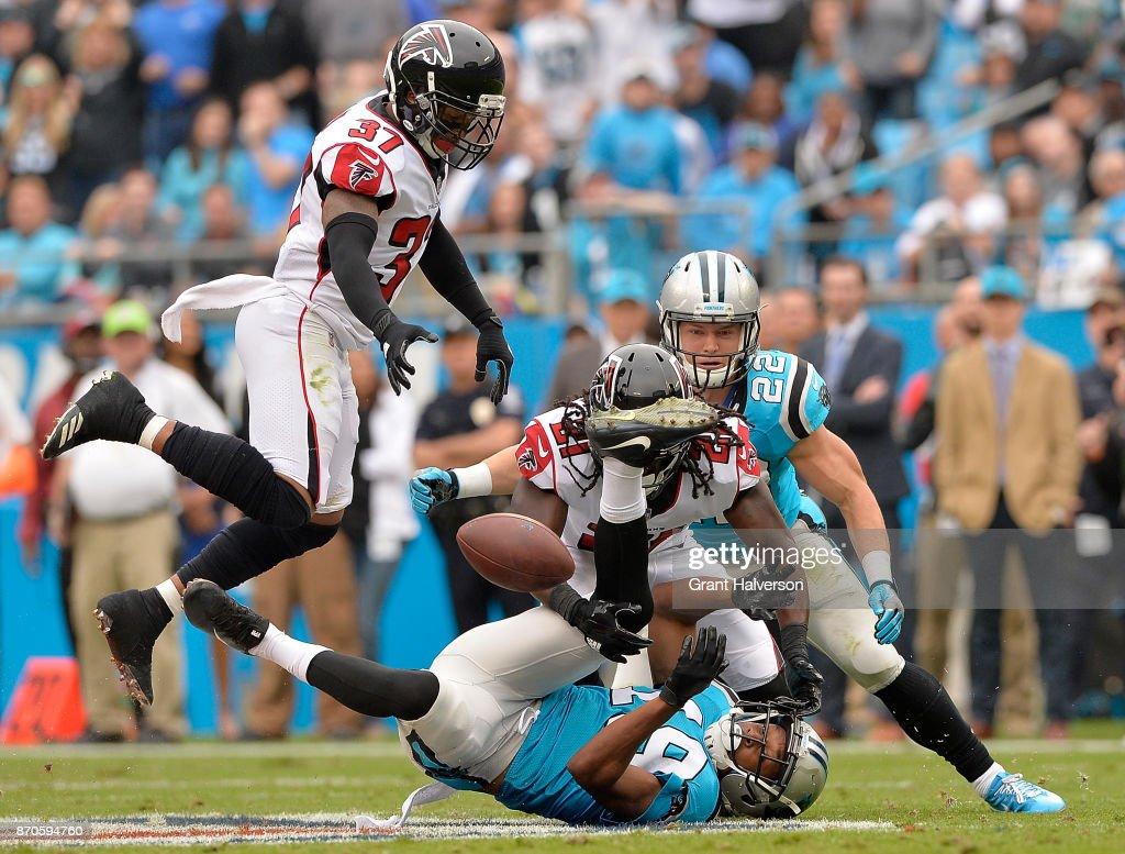 Desmond Trufant #21 of the Atlanta Falcons breaks up a pass intended for Russell Shepard #19 of the Carolina Panthers during their game at Bank of America Stadium on November 5, 2017 in Charlotte, North Carolina.