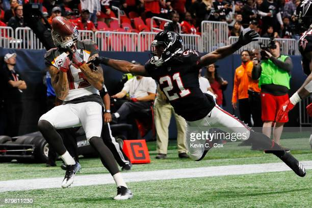 Desmond Trufant of the Atlanta Falcons breaks up a pass intended for Mike Evans of the Tampa Bay Buccaneers during the first half at MercedesBenz...