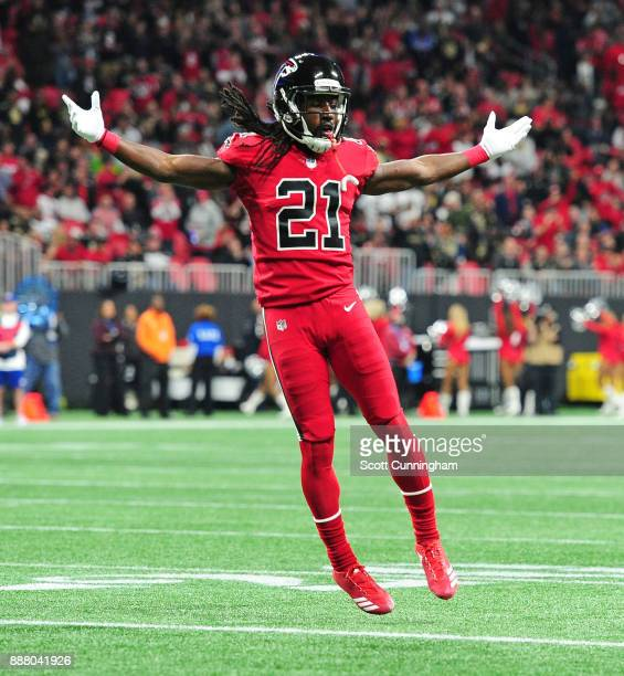 Desmond Trufant of the Atlanta Falcons celebrates after breaking up a pass against the New Orleans Saints at MercedesBenz Stadium on December 7 2017...