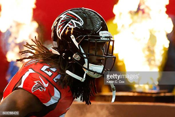 Desmond Trufant of the Atlanta Falcons is introduced prior to the game against the New Orleans Saints at the Georgia Dome on January 3 2016 in...