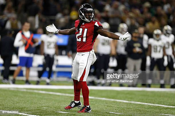 Desmond Trufant of the Atlanta Falcons reacts during a game against the New Orleans Saints at the MercedesBenz Superdome on September 26 2016 in New...
